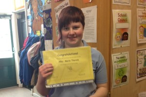 Allie- Marie Thorold Showing Her Certificate